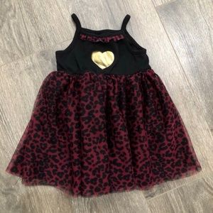 Baby Glam Red Animal Print Onesie Dress